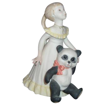 Cybis Goldilocks and Panda Bear Porcelain Figurine