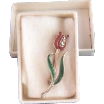 Vintage Silver, Rhinestone and Enamel Tulip Flower Brooch Pin