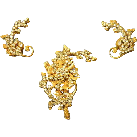 Vintage Miriam Haskell Signed Brooch and Earrings Set