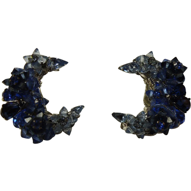 Vintage EUGENE Signed Cobalt Blue Art Glass Crescent Earrings