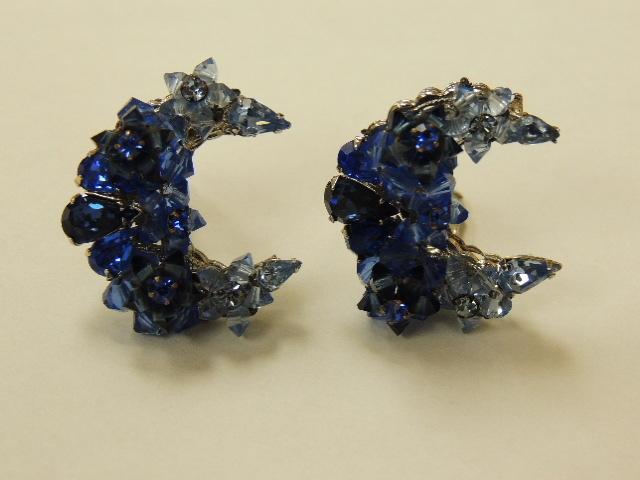Vintage Eugene Signed Cobalt Blue Art Glass Crescent