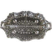 Vintage Depression Glass 3-Part Celery Dish Floral Etched Pattern