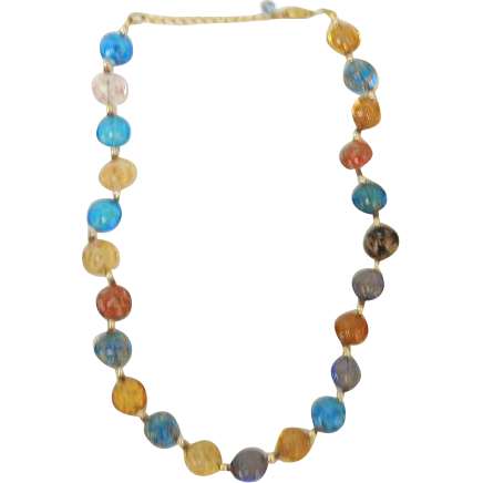Vintage Multi Colored Art Bead Necklace