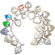 Vintage Charm Bracelet 22 Sterling Silver Puffy Heart Charms