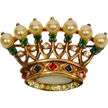 Vintage Trifari Crown Brooch Pin 925 Sterling Silver