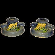 Roseville Pottery Freesia-Delft Blue Candleholders