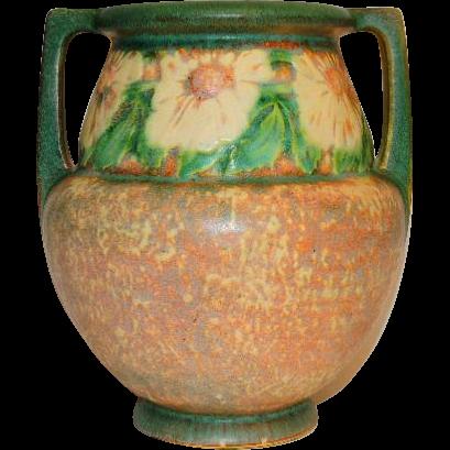 Vintage Roseville Pottery Dahlrose Pattern Vase From Tottysantiques On Ruby Lane
