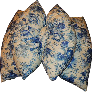 "Vintage ""The Original Bow Pillow"" Double Pillow Blue and White"