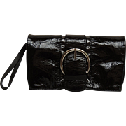 Donald J Pliner Wristlet Clutch Black Patent Leather Purse