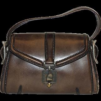 Vintage Firenze G. Papini Leather Goods Saddle Handbag Purse Brown