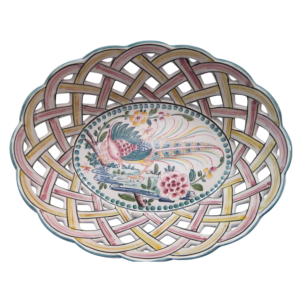 Portugal Porcelain Majolica Lattice Basket