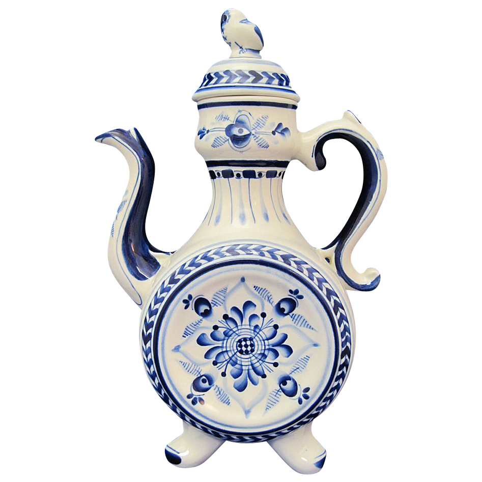 GZHEL Russian Fine Porcelain Large Blue and White Hand Painted Teapot