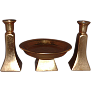International Silver Company Gold Leaf Porcelain Tray and Candlesticks