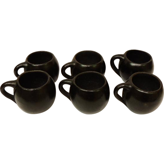 Oaxaca Mexico Set of 6 Cups Mugs Black Pottery 1970
