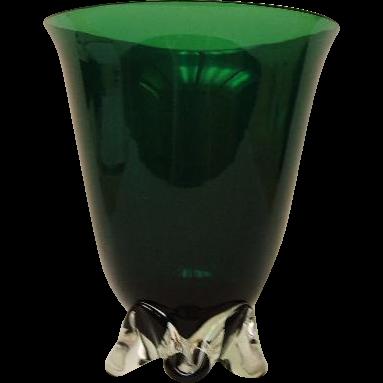 Green Crystal Art Glass Vase