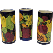 Mexico Talavera Pottery Set of 3 Water Glasses