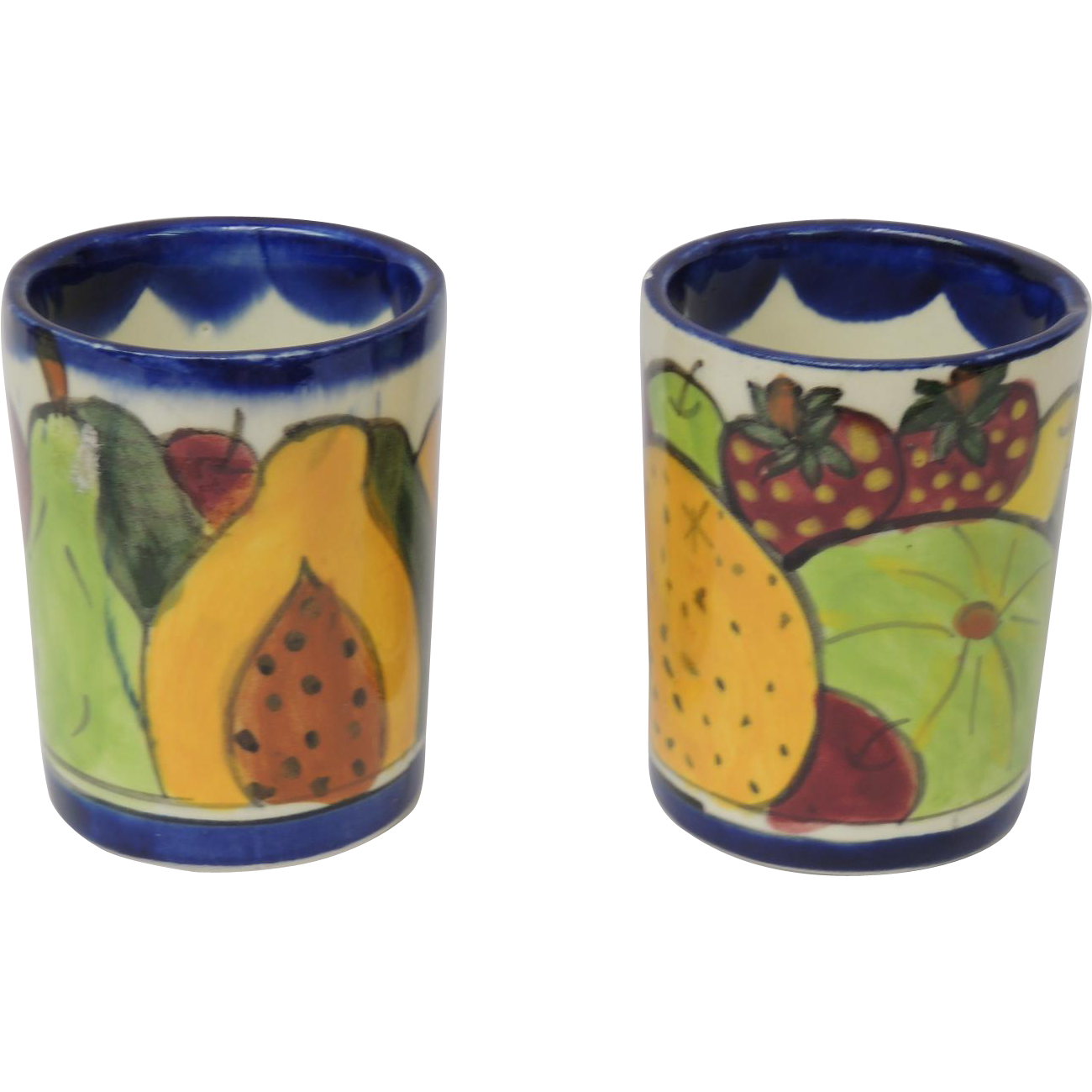 Vintage Mexico Talavera Pottery Set of 2 Mugs Cups