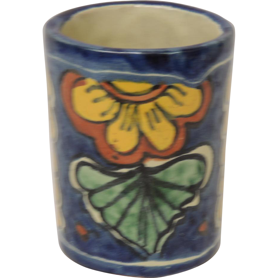 Talavera Pottery Mexico Amora Hand Painted Mug Container