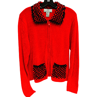 Vintage Red Holiday Sweater Black Mesh Beading