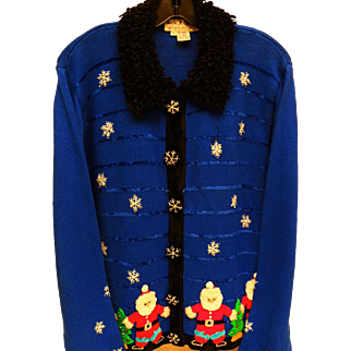 Vintage Blue Holiday Sweater Santa Decorated