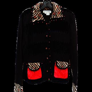 Vintage Black Holiday Sweater Multi-Colored Trim