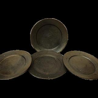 Oaxaca Mexico Set of 4 Plates Black Pottery 1970's