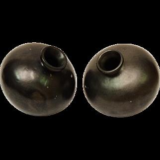 Oaxaca Mexico Set of 2 Black Pottery Vases or Olla's  1970's