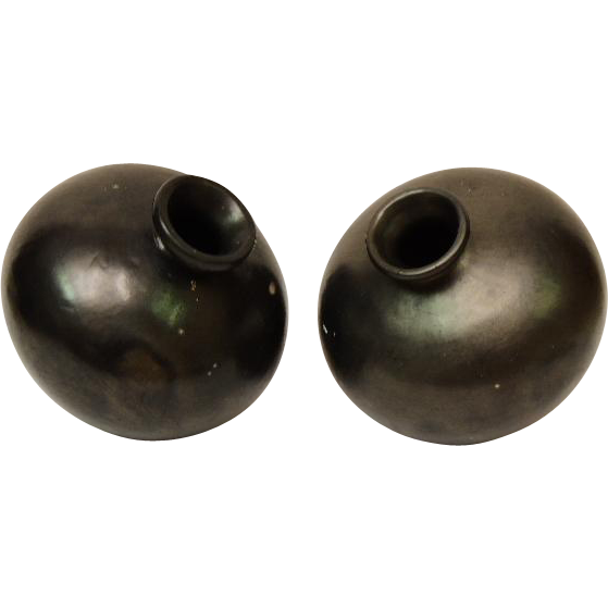 Oaxaca Mexico Set of 2 Black Pottery Vases or Olla's  1970's