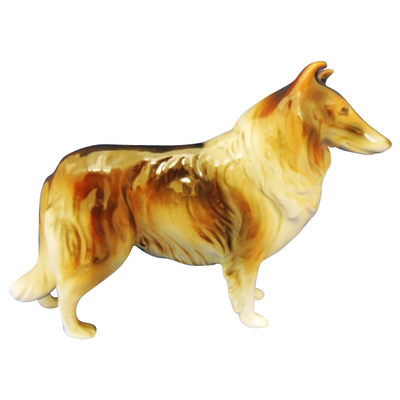 Vintage Collie Dog Ceramic Figurine