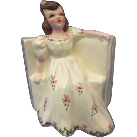 Vintage Florence Ceramics Figurine Flower Holder MAY