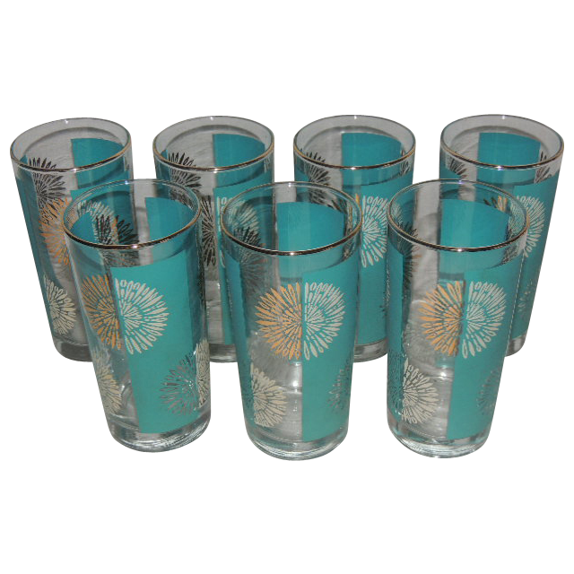 Vintage 1950's Decorated Glasses Turquoise White - Set of 7