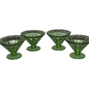 Green Optic Panel Federal Glass Co. Set of 4 Sherbert Glasses