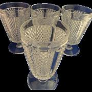 Vintage Hobnail Diamond Pattern Water Glass  Set of 4