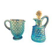 Vintage Blue Glass Hobnail Pattern Creamer and Cruet with Stopper