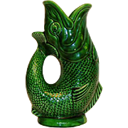 Majolica Gurgling Fish Pitcher Green 1950's