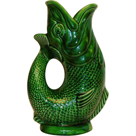 majolica gurgling fish pitcher green 1950 39 s from