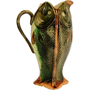 Majolica 4-Sided Porcelain Fish Pitcher  9 1/2""