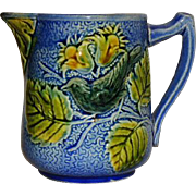 "Majolica Blue Bird Pitcher  4 3/4"" High"