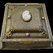 Antique Jeweled Gilt La Tausca Dresser Jewelry Box with Cameo