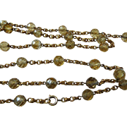 Art Deco Long Flapper Girl Faceted Citrine Chain Necklace