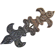 Victorian Engraved Sterling Silver Pin Brooch