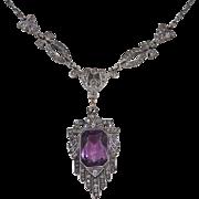 Art Deco Sterling Silver Amethyst Paste Necklace