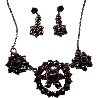 Antique Bohemian Garnet Silver Necklace and Earrings Set