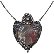 Large Antique Art Nouveau Sterling Necklace with Agate