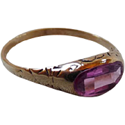 Antique Victorian 10K Gold Pink Sapphire Ring