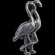 Vintage Large Sterling Silver Flamingo Pair Pin Brooch