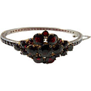 Art Deco Sterling Silver Bohemian Garnet Glass Bangle Bracelet