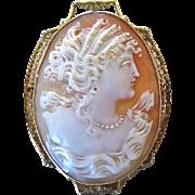 Edwardian 10K Gold Filigree Cameo Portrait Pin Pendant