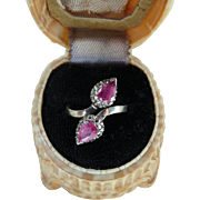 Antique Victorian Sterling Silver Natural Pink Sapphire and White Gemstone Ring