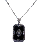 Art Deco Sterling Silver Onyx Diamond Pendant Necklace